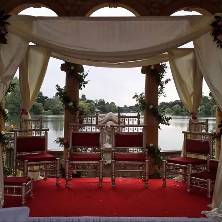 ✨Our draped Mandap at the breathtaking #hevercastle ove...